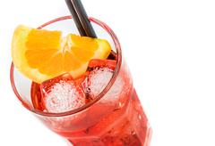 Top of view of spritz aperitif aperol cocktail with orange slices and ice cub Stock Photos