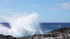 Ocean wave splash on the reef video - stock footage