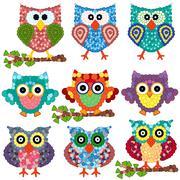 Set of nine ornamental owls Stock Illustration