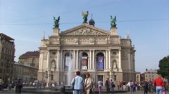Main entrance of the Opera House of Lviv Stock Footage