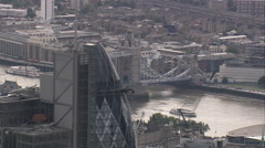 AERIAL United Kingdom-Revealing The City From Tower Bridge Stock Footage