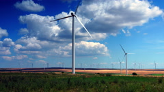 Wind Turbines, Field With Strong Colors, Zoom In Stock Footage