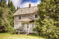 Old Iowa Farmhouse - stock photo
