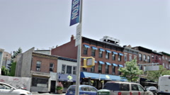 Panning shot Fort Greene Brooklyn corner of Biggie Mural Building NYC 4K Stock Footage