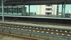 Stock Video Footage of Point Of View Of Passenger Travling On Train On Japanese Railroads