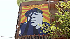 Fort Greene subway station with famous mural of Biggie Smalls in 4K, BK, NYC Stock Footage