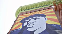 Beautiful tilt down Biggie Smalls Mural Brooklyn Love Building subway station 4K Stock Footage