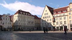 Town Hall square of Tallinn, Estonia Stock Footage