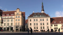Town Hall square of Tallinn with white church tower, Estonia - stock footage