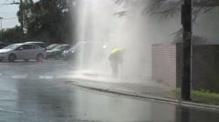 Water fountain Burst Pipe (Medium shot) Stock Footage