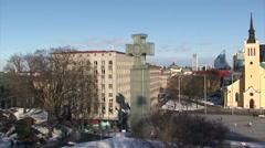Victory Column to Yellow Lutheran church in Tallinn Stock Footage