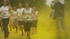 Rainbow Run Race - yellow Stock Footage
