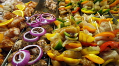 Chicken and Vegetables Brochettes 4K Stock Footage