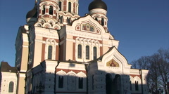Alexander Nevsky Russian Orthodox cathedral, tilt Stock Footage