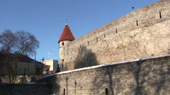 Old defensive walls of Tallinn, round tower with roof Stock Footage