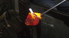 Glass and blowtorch shaping  Stock Footage