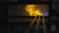 Glass tools and fire super slow motion Stock Footage