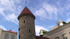 Tower at the entrance of old town Tallinn, moving clouds Stock Footage