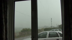Heavy rain on window during thunderstorm. Stock Footage