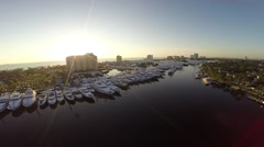 Aerial Sunrise at Boat Show Fort Lauderdale Stock Footage