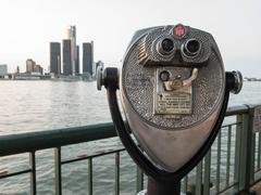 Detroit Sightseeing from Windsor Stock Photos