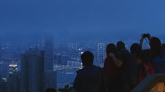 Victoria Peak and tourists in HK good for titles 4K Stock Footage