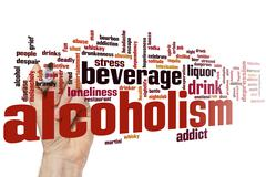 Alcoholism word cloud Stock Photos