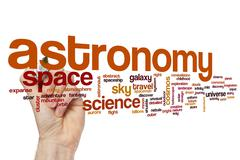 Astronomy word cloud concept Stock Photos