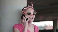 Woman carpark sunglasses Stock Footage