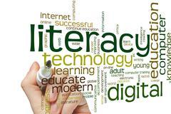 Digital literacy word cloud Stock Photos