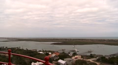St. Augustine Lighthouse on the North end of Anastasia Island Stock Footage