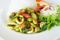 Stir fried  green curry with seafood and rice Stock Photos