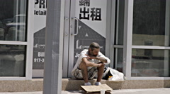Homeless man on hot summer street in Manhattan, NYC 4K Stock Footage