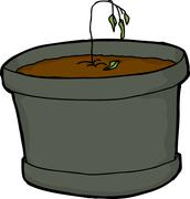 Dying Little Houseplant - stock illustration