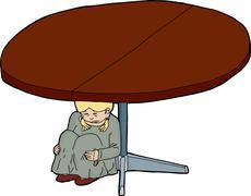 Cartoon of Scared Girl Under Table Stock Illustration