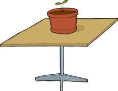 Stock Illustration of Isolated Seedling on Square Table