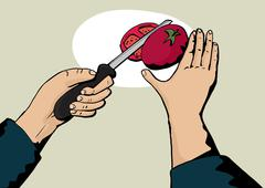 Chopping a Tomato - stock illustration