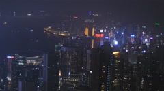 Zoom out of Hong Kong skyscrapers from above 4K Stock Footage