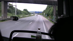 Stock Video Footage of View from front window of a coach on motorway in Germany