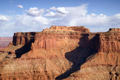 Schafer Canyon Majestic Buttes Puffy Clouds Blue Sky Canyonlands Stock Photos