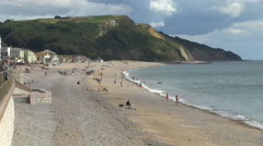 Seaton Town Beach in Devon Stock Footage