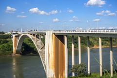 Friendship Bridge (Ponte da Amizade) Connecting Brazil and Paraguay Stock Photos