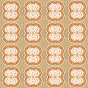 Seamless pattern with latte art coffee on brown sweater background Stock Illustration