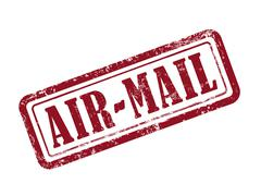 Stock Illustration of stamp air-mail in red text on white