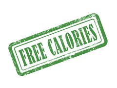 stamp free calories in green - stock illustration