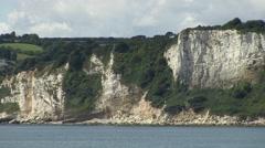 Chalk Cliffs of Seaton Bay in Devon - stock footage
