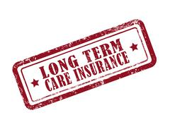 Stamp long term care insurance in red Stock Illustration
