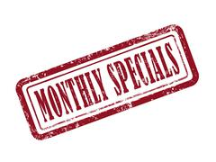 Stamp monthly specials in red Stock Illustration