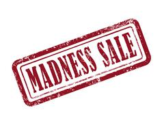 stamp madness sale in red - stock illustration