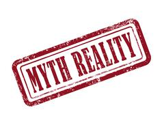 stamp myth reality in red - stock illustration